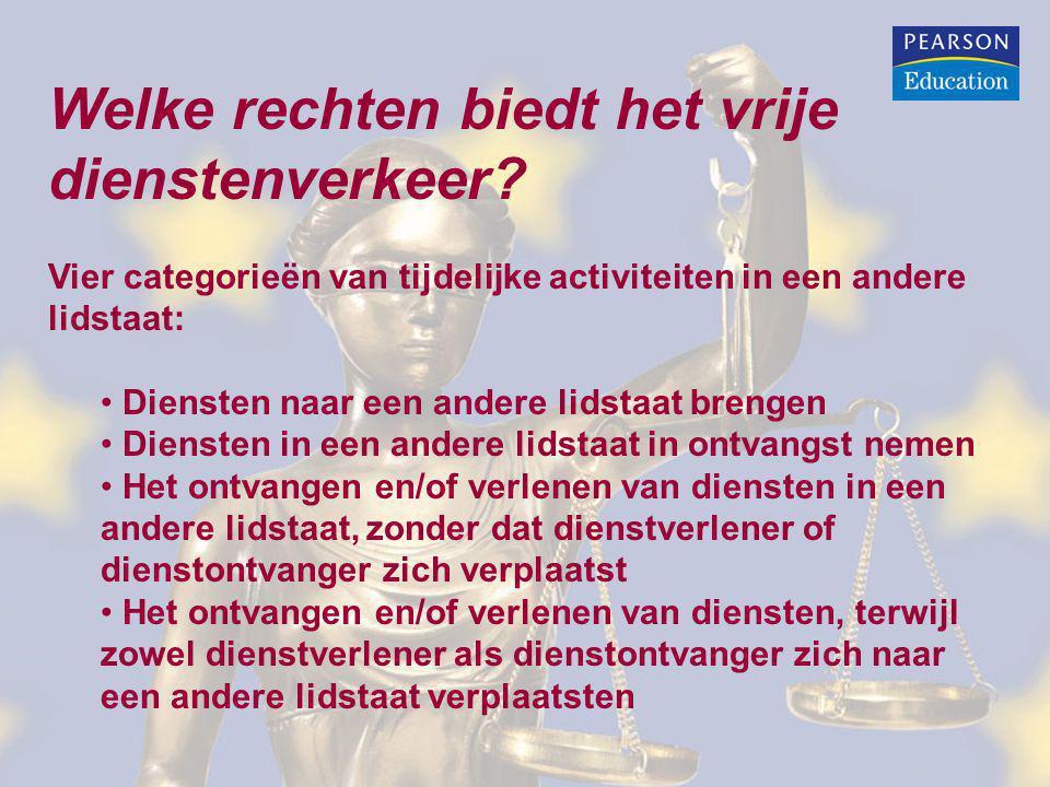 Voorbeelden waarop het vrije dienstenverkeer van toepassing is (I) Diensten naar een andere lidstaat brengen: Belgisch reisbureau biedt op een beurs in Nederland een nieuwe formule groepsreizen aan.