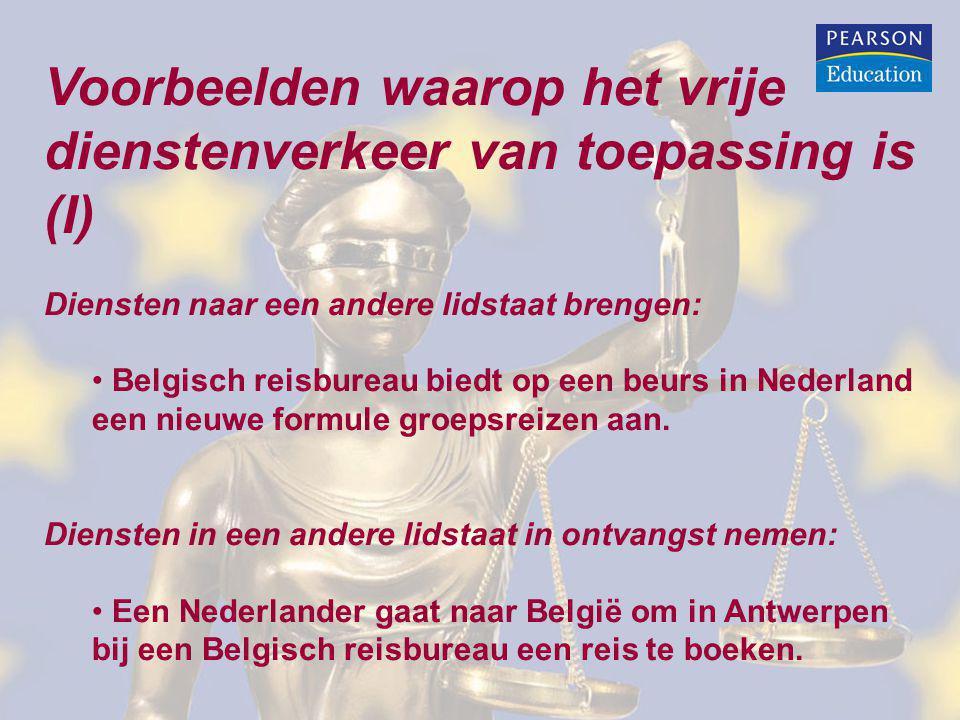 Voorbeelden waarop het vrije dienstenverkeer van toepassing is (I) Diensten naar een andere lidstaat brengen: Belgisch reisbureau biedt op een beurs i