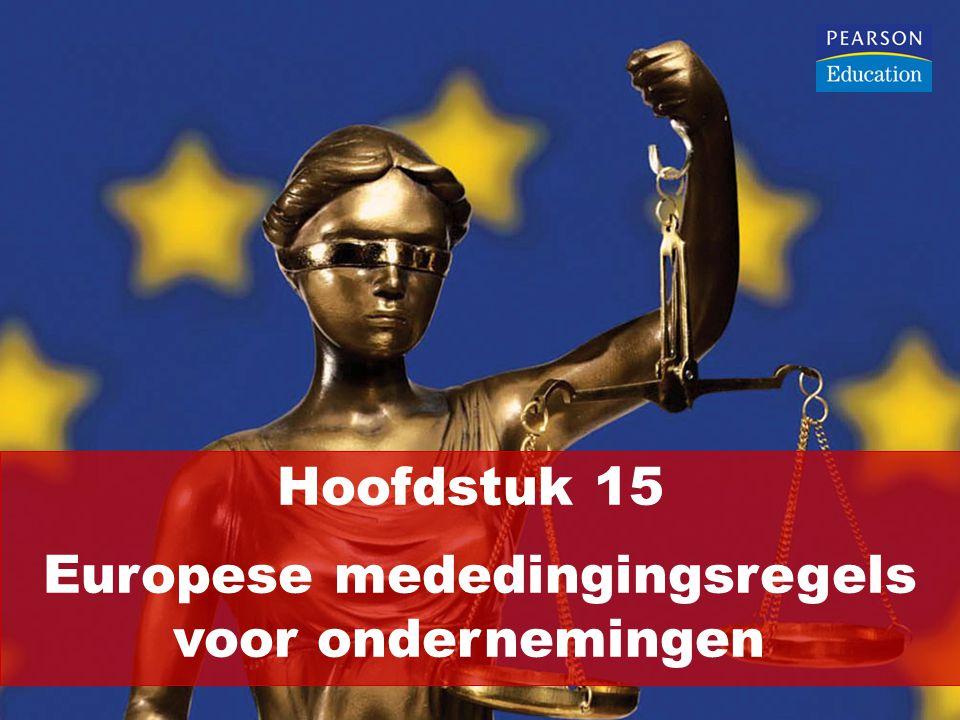 EU-regels om vervalsing van de concurrentie door ondernemingen te voorkomen: Verbod van concurrentiebeperkende kartels (overeenkomsten, besluiten en oafg's): artikel 101 VWEU (dia's 3-16) Verbod van misbruik van machtspositie: artikel 102 VWEU (dia's 17-23) Procedureregels inzake artikelen 101 en 102 VWEU (dia's 24-27) Verplichting tot aanmelding van grote concentraties: verordening 139/2004 (dia's 28-31)