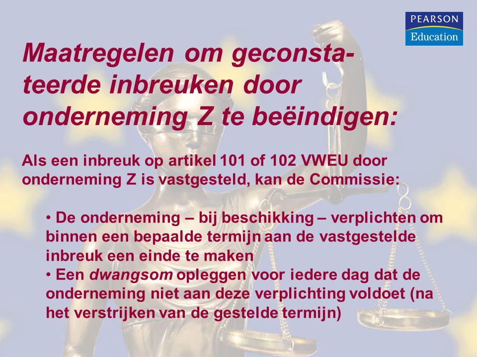 Maatregelen om geconsta- teerde inbreuken door onderneming Z te beëindigen: Als een inbreuk op artikel 101 of 102 VWEU door onderneming Z is vastgeste