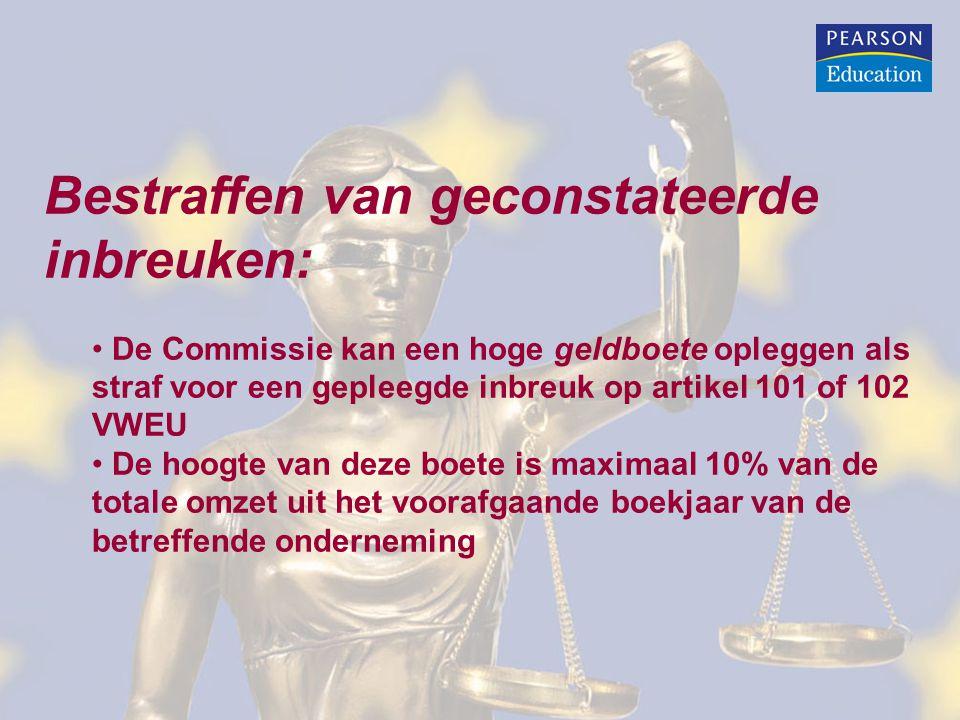 Bestraffen van geconstateerde inbreuken: De Commissie kan een hoge geldboete opleggen als straf voor een gepleegde inbreuk op artikel 101 of 102 VWEU