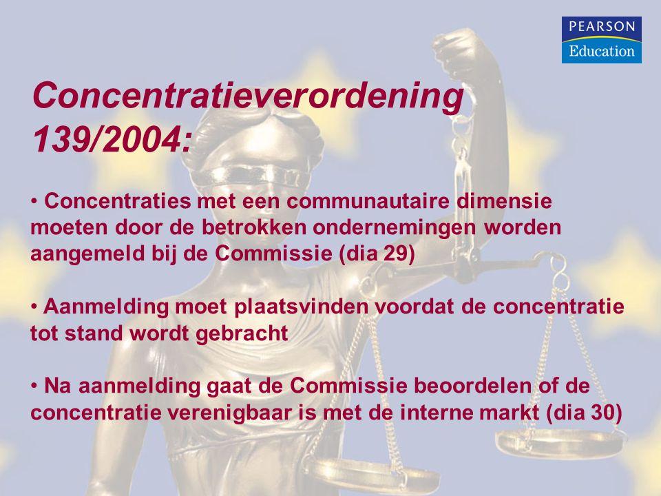 Concentratieverordening 139/2004: Concentraties met een communautaire dimensie moeten door de betrokken ondernemingen worden aangemeld bij de Commissi