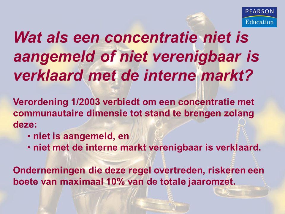 Wat als een concentratie niet is aangemeld of niet verenigbaar is verklaard met de interne markt? Verordening 1/2003 verbiedt om een concentratie met
