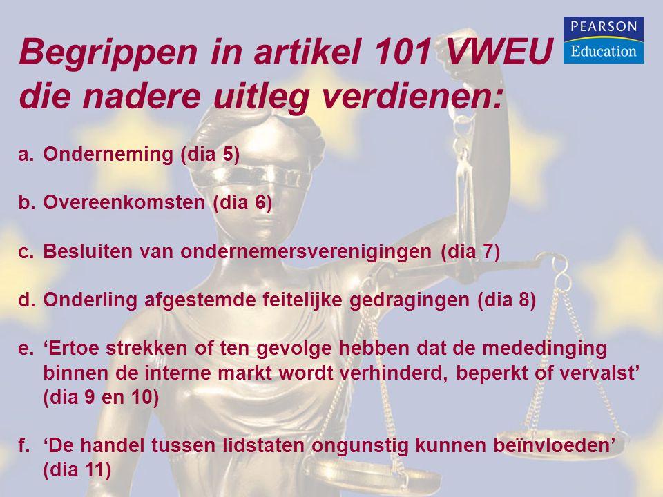 Begrippen in artikel 101 VWEU die nadere uitleg verdienen: a.Onderneming (dia 5) b.Overeenkomsten (dia 6) c.Besluiten van ondernemersverenigingen (dia