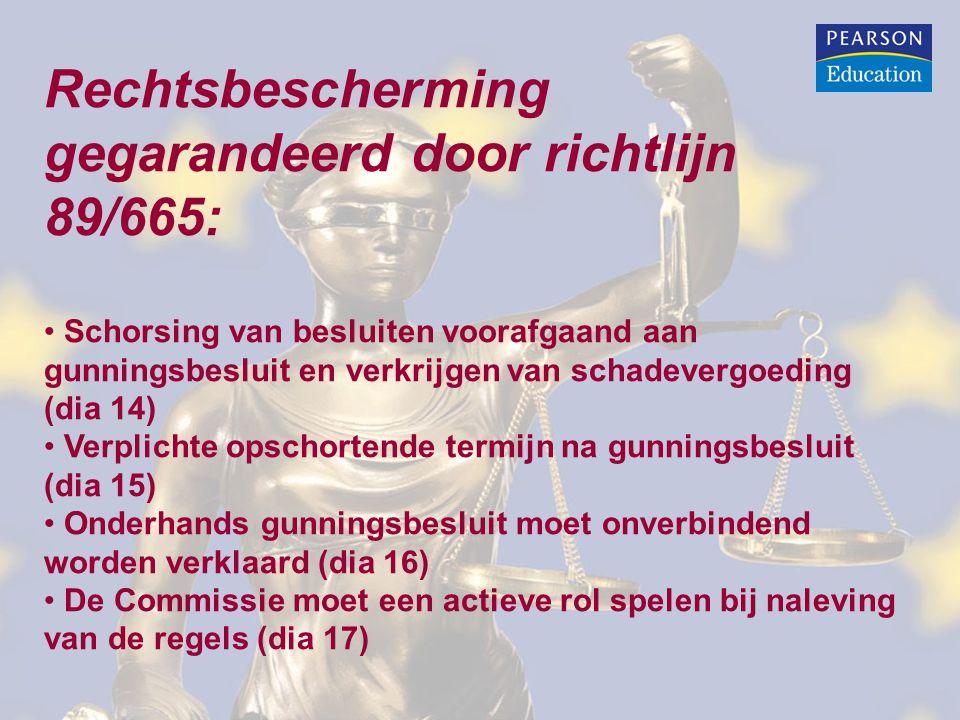 Rechtsbescherming gegarandeerd door richtlijn 89/665: Schorsing van besluiten voorafgaand aan gunningsbesluit en verkrijgen van schadevergoeding (dia 14) Verplichte opschortende termijn na gunningsbesluit (dia 15) Onderhands gunningsbesluit moet onverbindend worden verklaard (dia 16) De Commissie moet een actieve rol spelen bij naleving van de regels (dia 17)