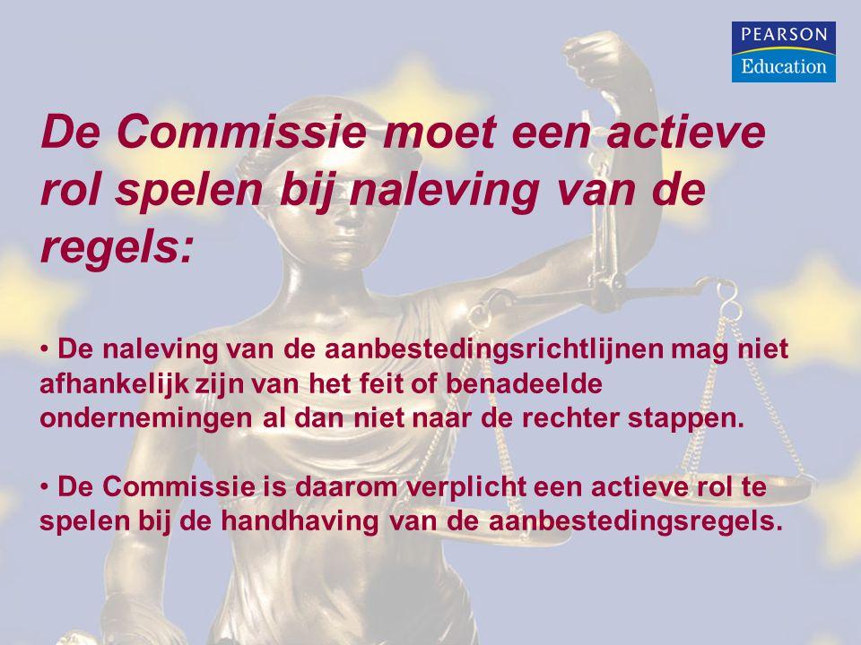 De Commissie moet een actieve rol spelen bij naleving van de regels: De naleving van de aanbestedingsrichtlijnen mag niet afhankelijk zijn van het feit of benadeelde ondernemingen al dan niet naar de rechter stappen.