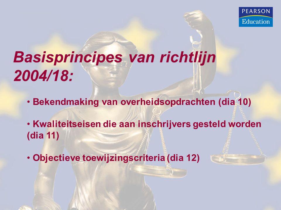 Basisprincipes van richtlijn 2004/18: Bekendmaking van overheidsopdrachten (dia 10) Kwaliteitseisen die aan inschrijvers gesteld worden (dia 11) Objectieve toewijzingscriteria (dia 12)