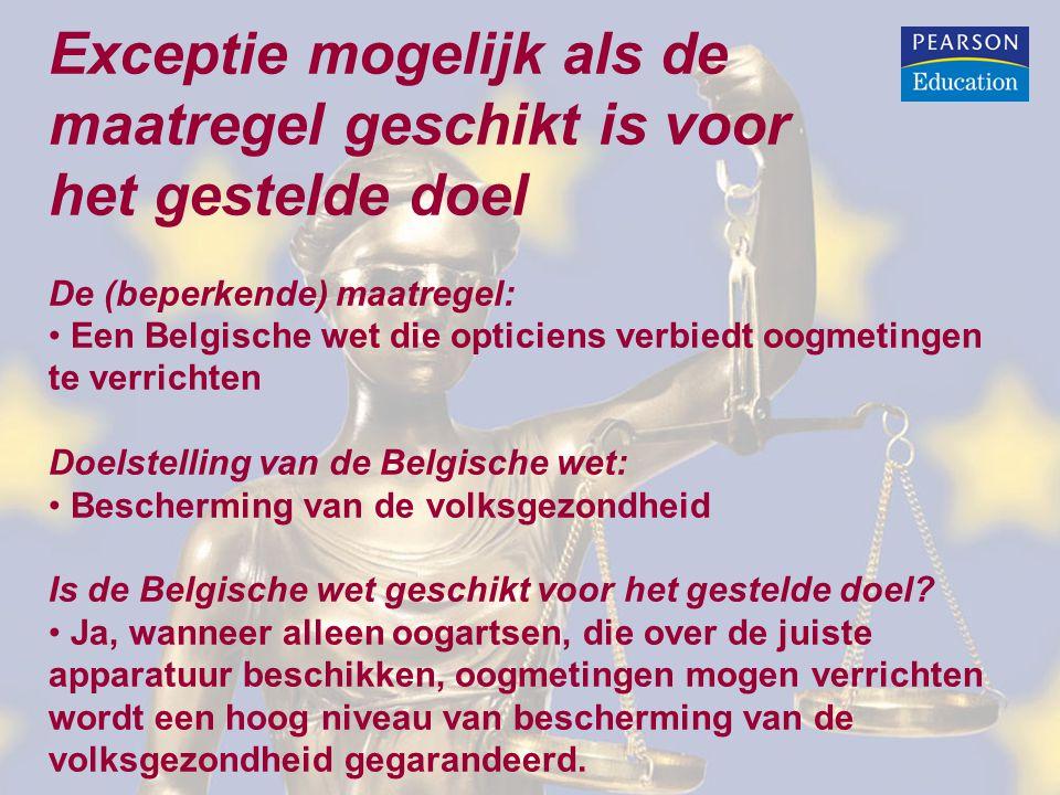 Exceptie mogelijk als de maatregel geschikt is voor het gestelde doel De (beperkende) maatregel: Een Belgische wet die opticiens verbiedt oogmetingen
