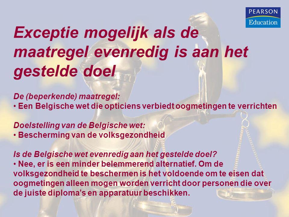 Exceptie mogelijk als de maatregel evenredig is aan het gestelde doel De (beperkende) maatregel: Een Belgische wet die opticiens verbiedt oogmetingen