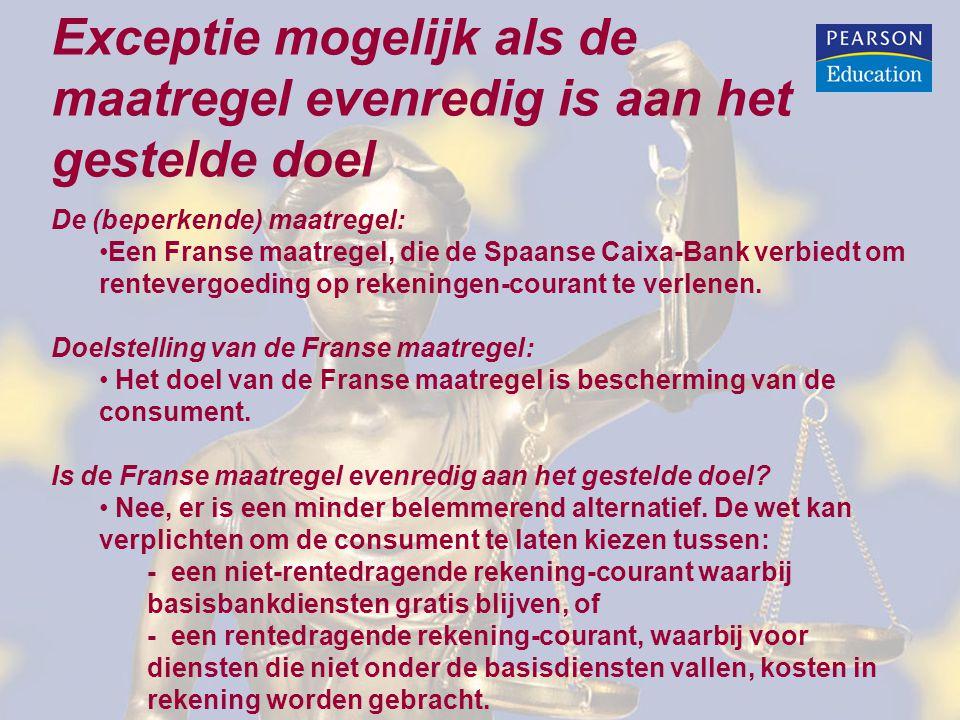 Exceptie mogelijk als de maatregel evenredig is aan het gestelde doel De (beperkende) maatregel: Een Franse maatregel, die de Spaanse Caixa-Bank verbi
