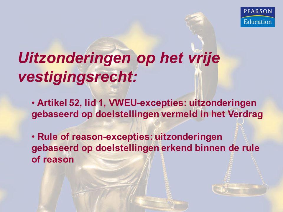 Uitzonderingen op het vrije vestigingsrecht: Artikel 52, lid 1, VWEU-excepties: uitzonderingen gebaseerd op doelstellingen vermeld in het Verdrag Rule