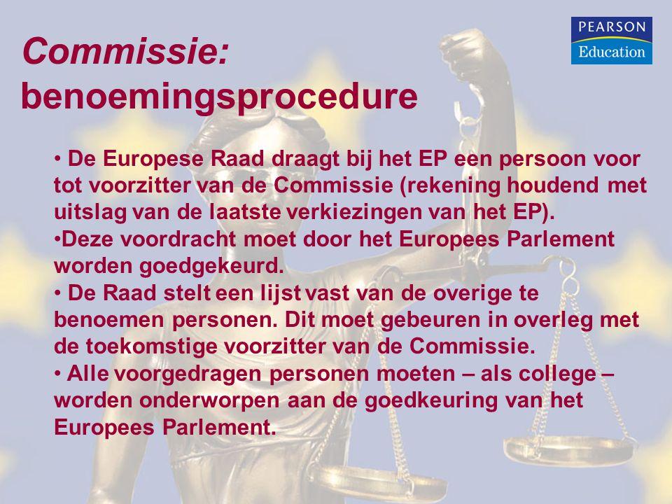Commissie: benoemingsprocedure De Europese Raad draagt bij het EP een persoon voor tot voorzitter van de Commissie (rekening houdend met uitslag van de laatste verkiezingen van het EP).
