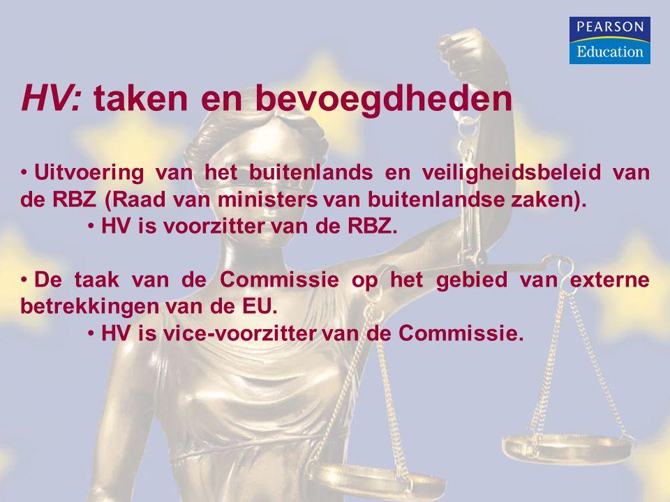 HV: taken en bevoegdheden Uitvoering van het buitenlands en veiligheidsbeleid van de RBZ (Raad van ministers van buitenlandse zaken).