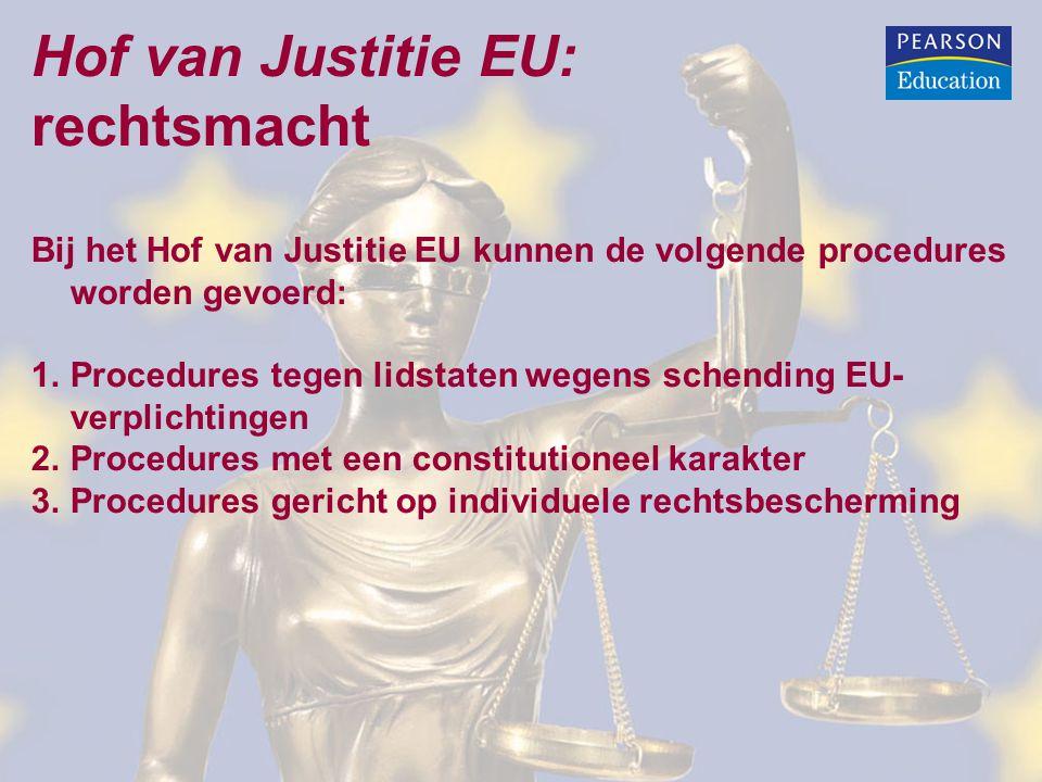 Hof van Justitie EU: rechtsmacht Bij het Hof van Justitie EU kunnen de volgende procedures worden gevoerd: 1.Procedures tegen lidstaten wegens schending EU- verplichtingen 2.Procedures met een constitutioneel karakter 3.Procedures gericht op individuele rechtsbescherming