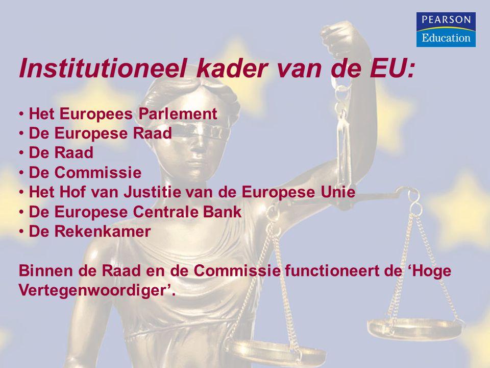 Institutioneel kader van de EU: Het Europees Parlement De Europese Raad De Raad De Commissie Het Hof van Justitie van de Europese Unie De Europese Centrale Bank De Rekenkamer Binnen de Raad en de Commissie functioneert de 'Hoge Vertegenwoordiger'.