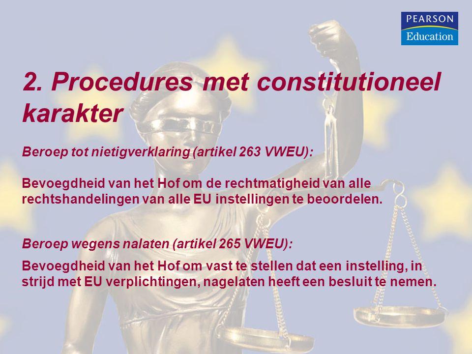 2. Procedures met constitutioneel karakter Beroep tot nietigverklaring (artikel 263 VWEU): Bevoegdheid van het Hof om de rechtmatigheid van alle recht