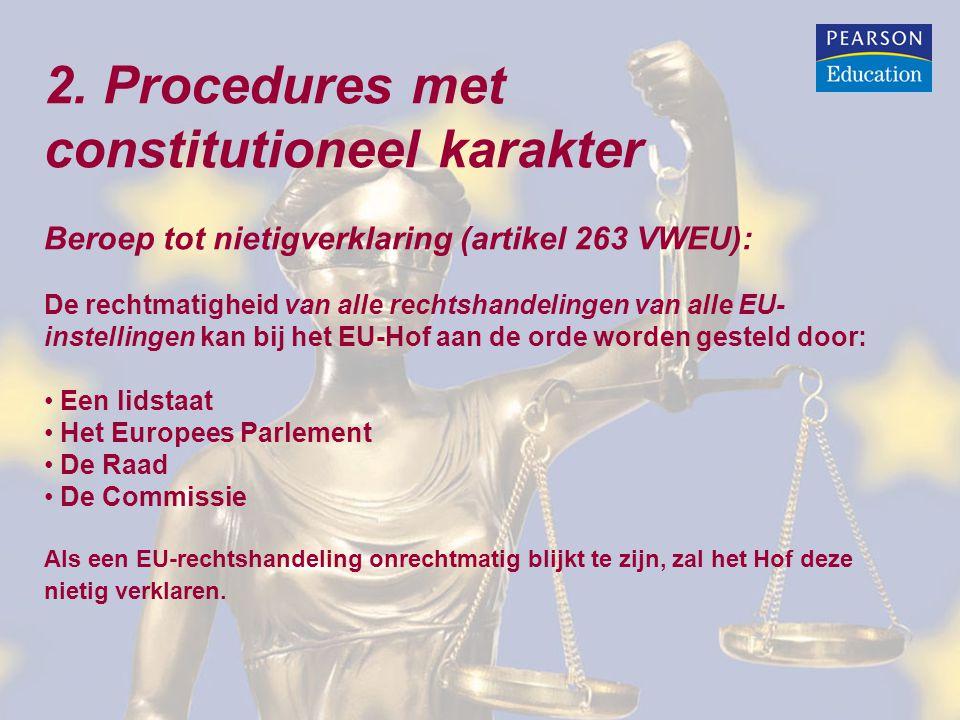 2. Procedures met constitutioneel karakter Beroep tot nietigverklaring (artikel 263 VWEU): De rechtmatigheid van alle rechtshandelingen van alle EU- i