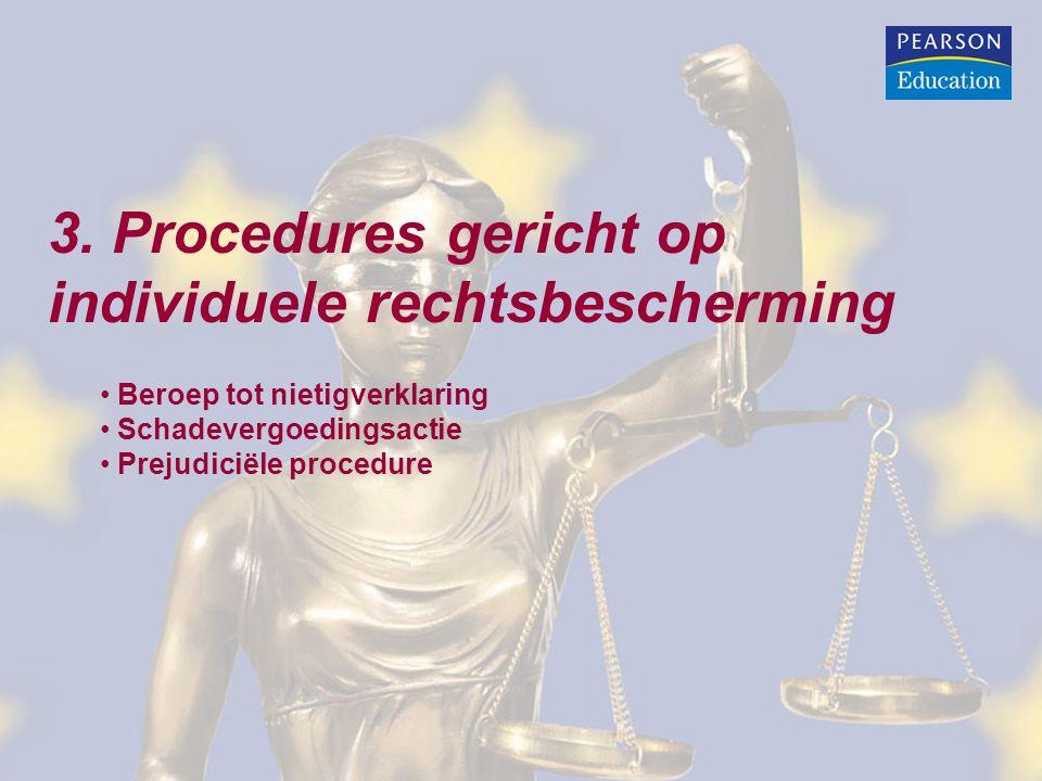 3. Procedures gericht op individuele rechtsbescherming Beroep tot nietigverklaring Schadevergoedingsactie Prejudiciële procedure