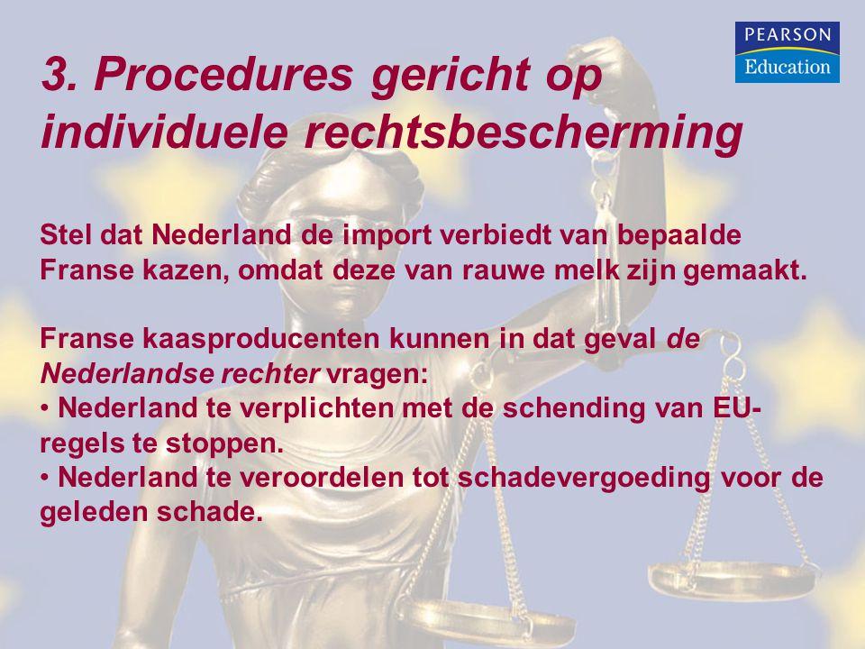 3. Procedures gericht op individuele rechtsbescherming Stel dat Nederland de import verbiedt van bepaalde Franse kazen, omdat deze van rauwe melk zijn