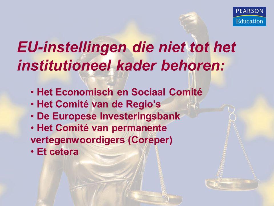 EU-instellingen die niet tot het institutioneel kader behoren: Het Economisch en Sociaal Comité Het Comité van de Regio's De Europese Investeringsbank Het Comité van permanente vertegenwoordigers (Coreper) Et cetera