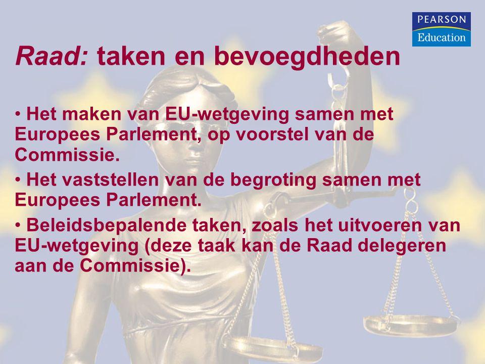 Raad: taken en bevoegdheden Het maken van EU-wetgeving samen met Europees Parlement, op voorstel van de Commissie.
