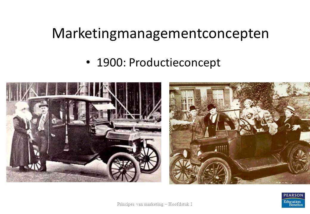 Principes van marketing – Hoofdstuk 1 11 Marketingmanagementconcepten 1900: Productieconcept