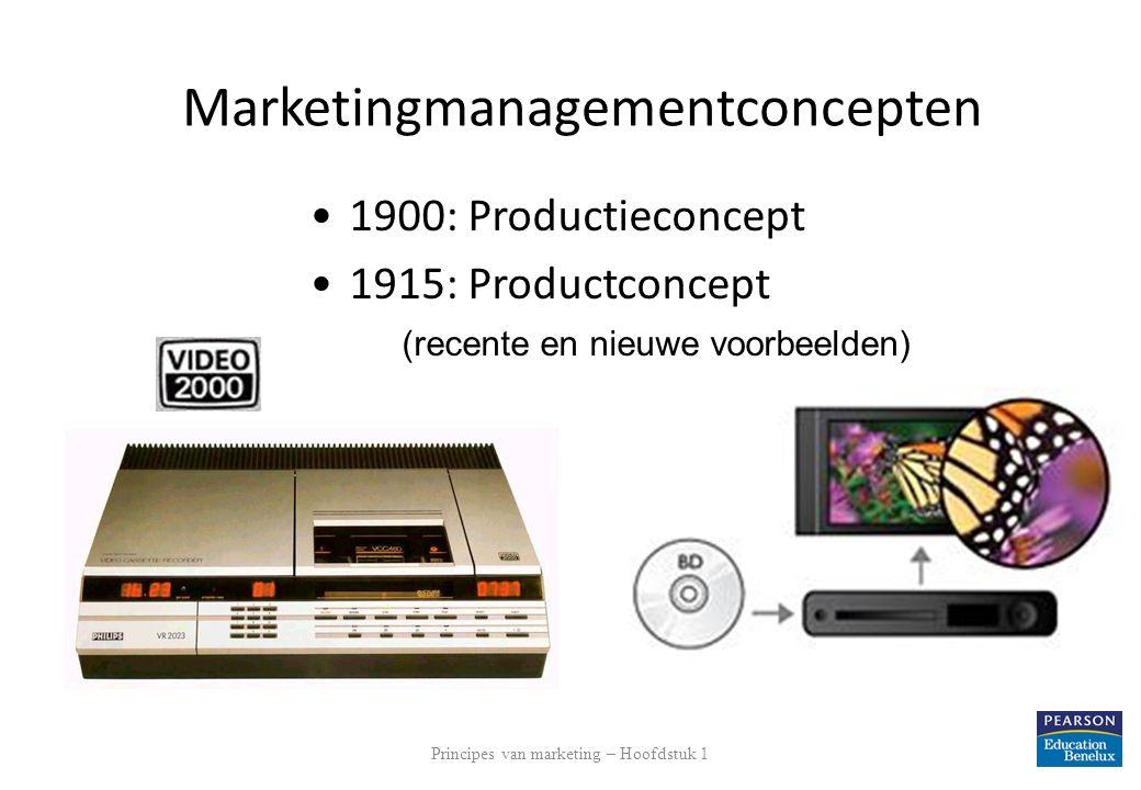 Principes van marketing – Hoofdstuk 1 12 Marketingmanagementconcepten 1900: Productieconcept 1915: Productconcept (recente en nieuwe voorbeelden)
