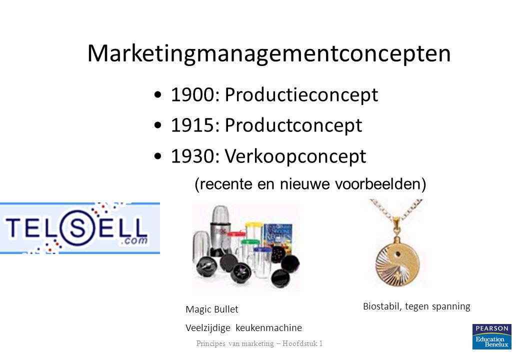 Principes van marketing – Hoofdstuk 1 13 Marketingmanagementconcepten 1900: Productieconcept 1915: Productconcept 1930: Verkoopconcept (recente en nie