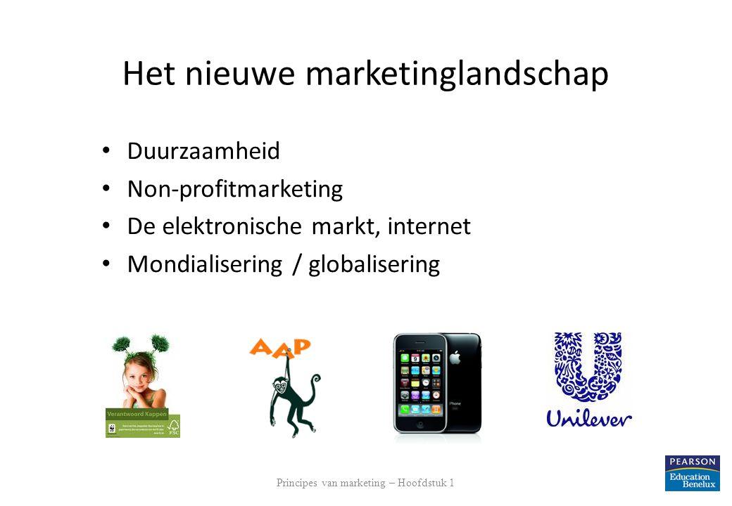 Het nieuwe marketinglandschap Duurzaamheid Non-profitmarketing De elektronische markt, internet Mondialisering / globalisering Principes van marketing