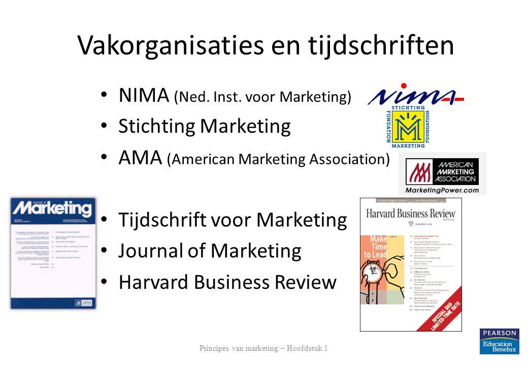 Vakorganisaties en tijdschriften NIMA (Ned. Inst. voor Marketing) Stichting Marketing AMA (American Marketing Association) Tijdschrift voor Marketing