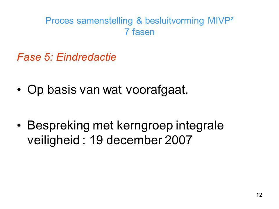 12 Proces samenstelling & besluitvorming MIVP² 7 fasen Fase 5: Eindredactie Op basis van wat voorafgaat.