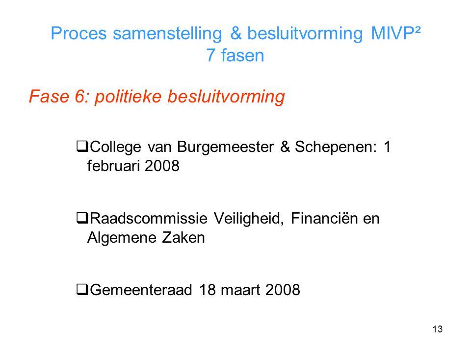 13 Proces samenstelling & besluitvorming MIVP² 7 fasen Fase 6: politieke besluitvorming  College van Burgemeester & Schepenen: 1 februari 2008  Raadscommissie Veiligheid, Financiën en Algemene Zaken  Gemeenteraad 18 maart 2008