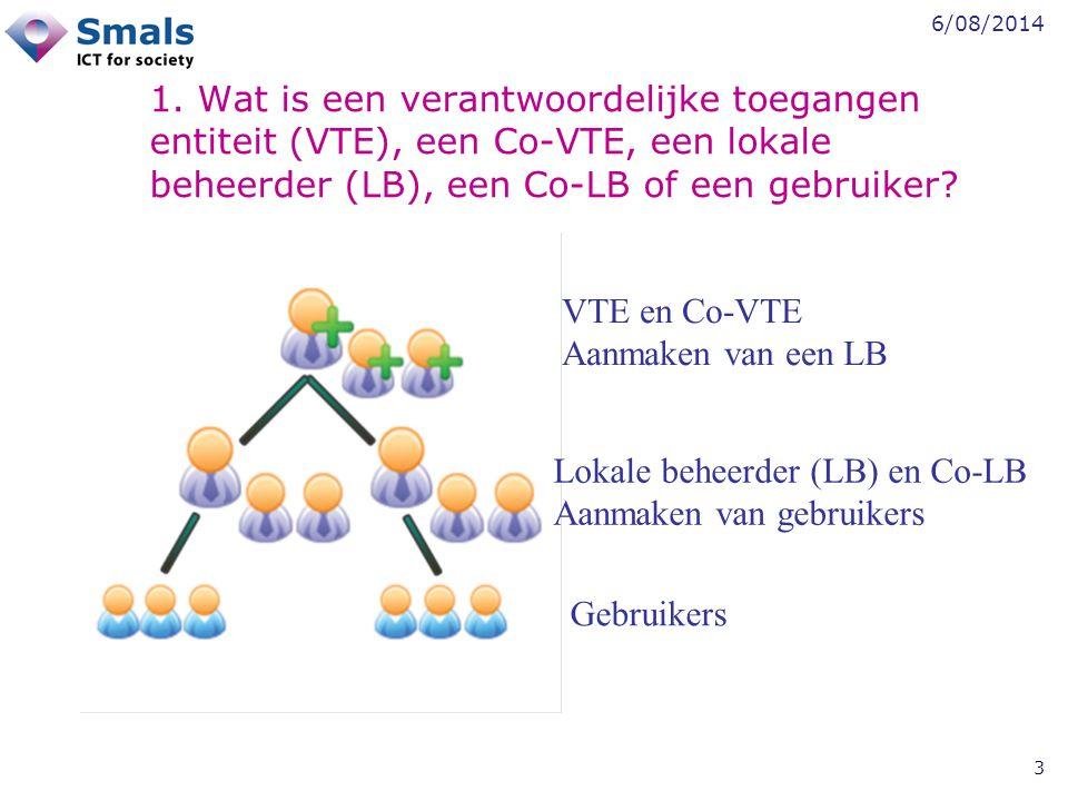 6/08/2014 3 1. Wat is een verantwoordelijke toegangen entiteit (VTE), een Co-VTE, een lokale beheerder (LB), een Co-LB of een gebruiker? VTE en Co-VTE