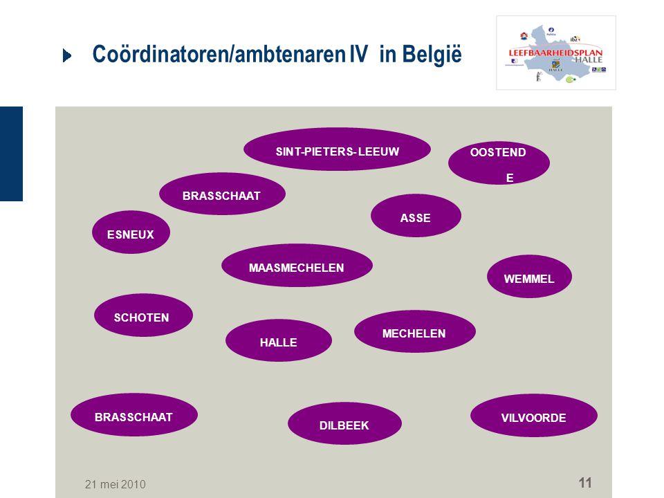 21 mei 2010 11 Coördinatoren/ambtenaren IV in België BRASSCHAAT SINT-PIETERS- LEEUW OOSTEND E MAASMECHELEN MECHELEN DILBEEK ASSE BRASSCHAAT SCHOTEN VI