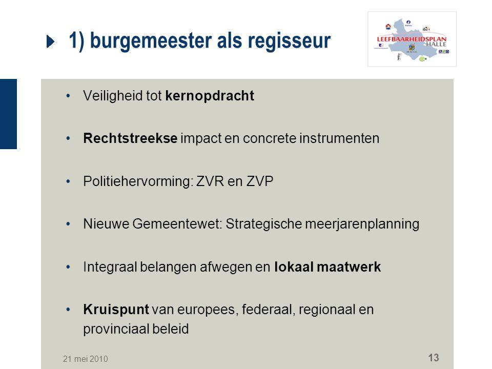 21 mei 2010 13 1) burgemeester als regisseur Veiligheid tot kernopdracht Rechtstreekse impact en concrete instrumenten Politiehervorming: ZVR en ZVP N