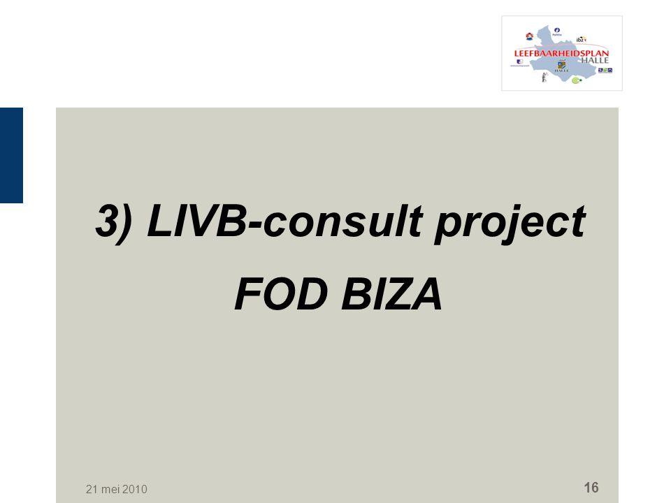 21 mei 2010 16 3) LIVB-consult project FOD BIZA