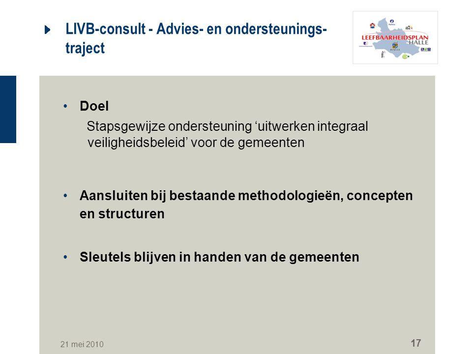 21 mei 2010 17 LIVB-consult - Advies- en ondersteunings- traject Doel Stapsgewijze ondersteuning 'uitwerken integraal veiligheidsbeleid' voor de gemee
