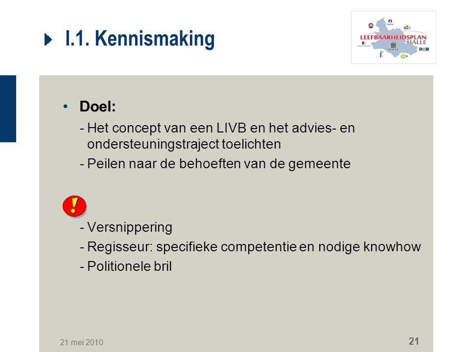 21 mei 2010 21 I.1. Kennismaking Doel: -Het concept van een LIVB en het advies- en ondersteuningstraject toelichten -Peilen naar de behoeften van de g