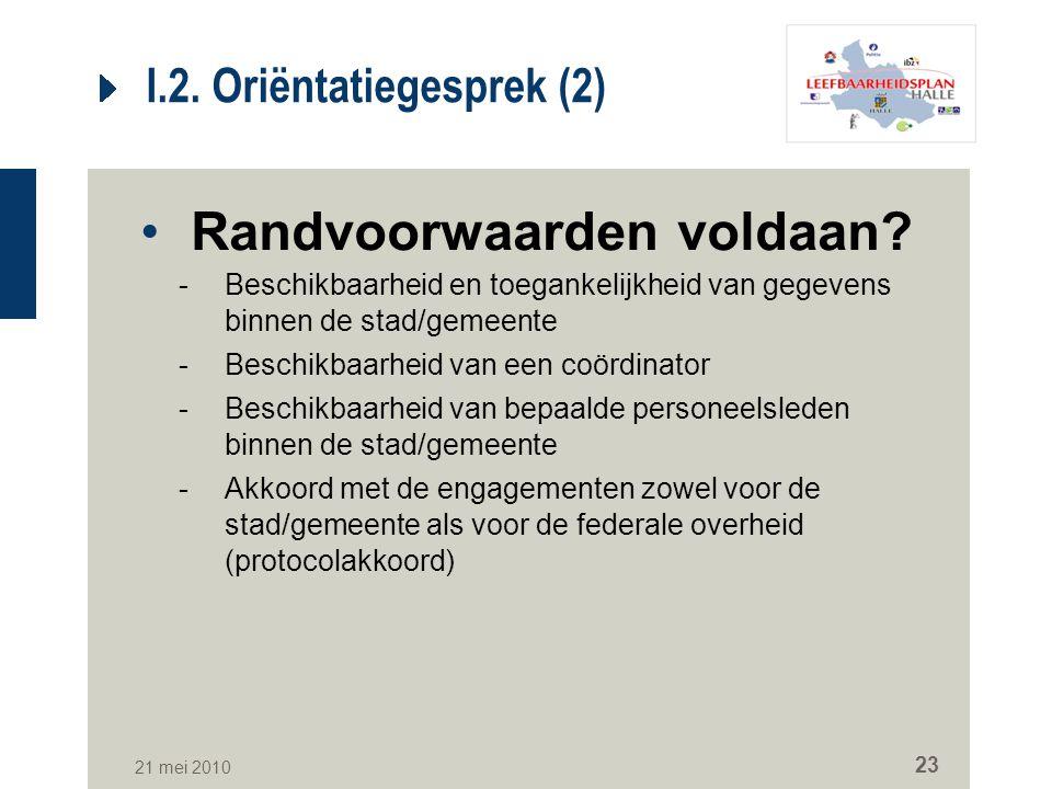 21 mei 2010 23 I.2. Oriëntatiegesprek (2) Randvoorwaarden voldaan? -Beschikbaarheid en toegankelijkheid van gegevens binnen de stad/gemeente -Beschikb