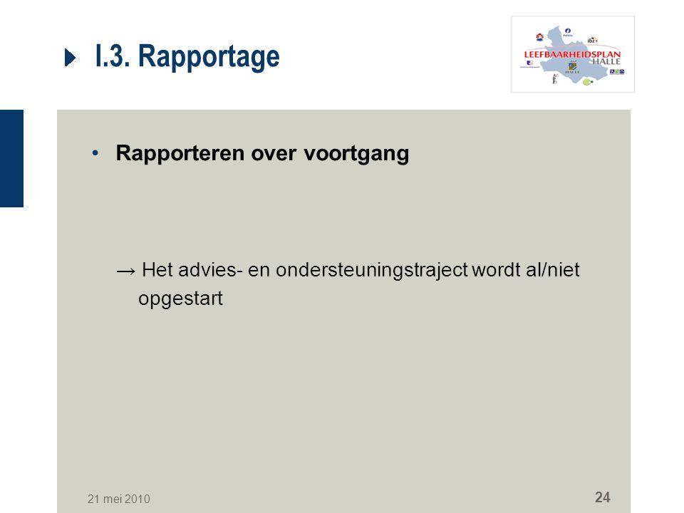 21 mei 2010 24 I.3. Rapportage Rapporteren over voortgang → Het advies- en ondersteuningstraject wordt al/niet opgestart