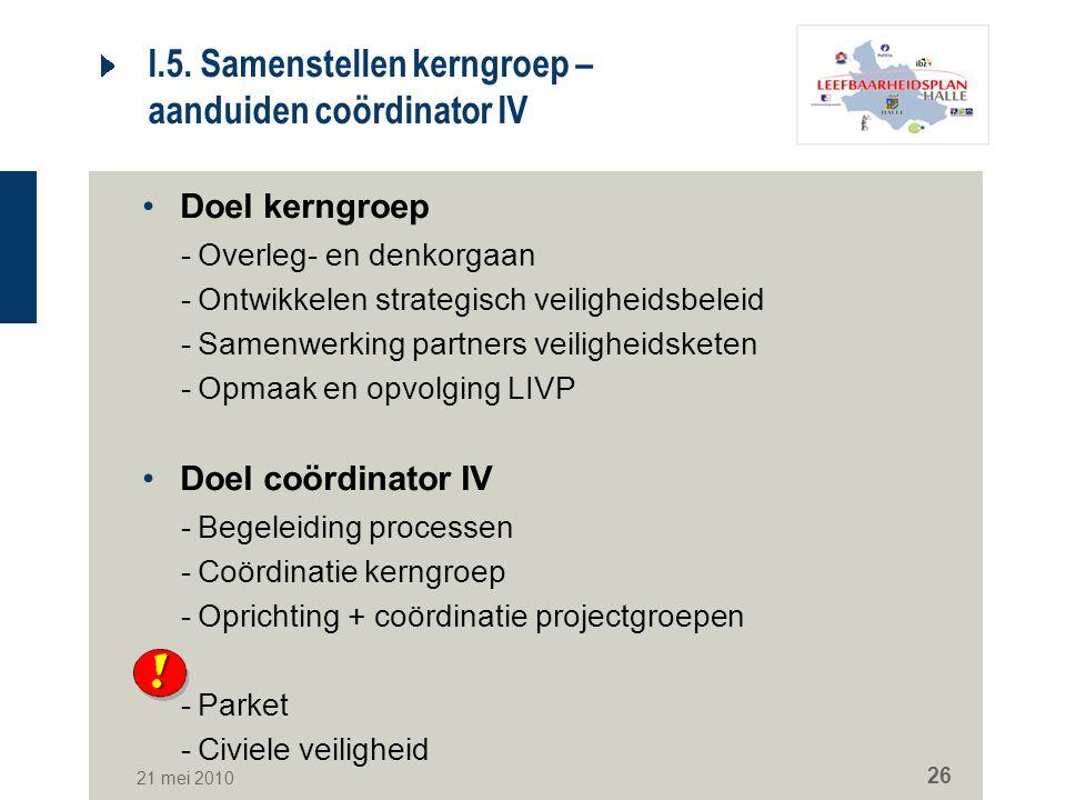 21 mei 2010 26 I.5. Samenstellen kerngroep – aanduiden coördinator IV Doel kerngroep -Overleg- en denkorgaan -Ontwikkelen strategisch veiligheidsbelei