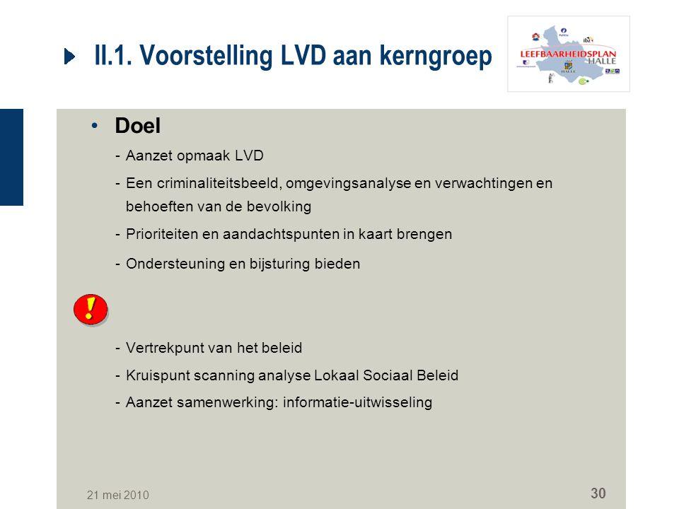 21 mei 2010 30 II.1. Voorstelling LVD aan kerngroep Doel -Aanzet opmaak LVD -Een criminaliteitsbeeld, omgevingsanalyse en verwachtingen en behoeften v