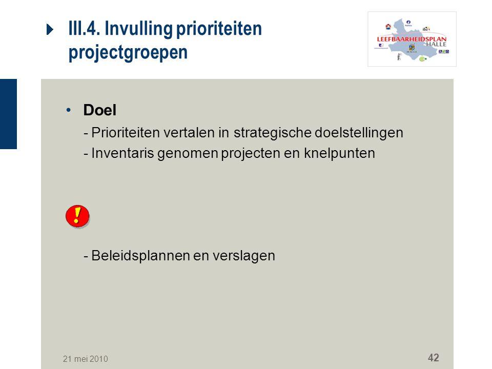 21 mei 2010 42 III.4. Invulling prioriteiten projectgroepen Doel -Prioriteiten vertalen in strategische doelstellingen -Inventaris genomen projecten e
