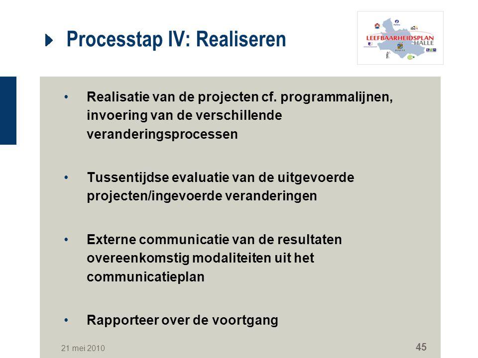 21 mei 2010 45 Processtap IV: Realiseren Realisatie van de projecten cf. programmalijnen, invoering van de verschillende veranderingsprocessen Tussent