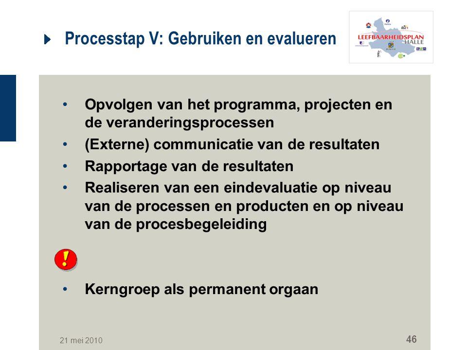 21 mei 2010 46 Processtap V: Gebruiken en evalueren Opvolgen van het programma, projecten en de veranderingsprocessen (Externe) communicatie van de re