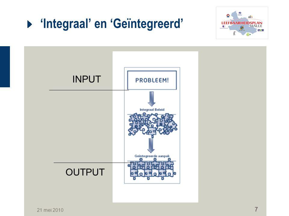 21 mei 2010 7 'Integraal' en 'Geïntegreerd' INPUT OUTPUT