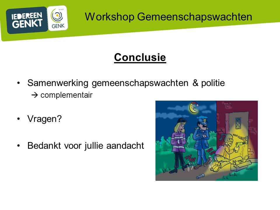 Workshop Gemeenschapswachten Conclusie Samenwerking gemeenschapswachten & politie  complementair Vragen.