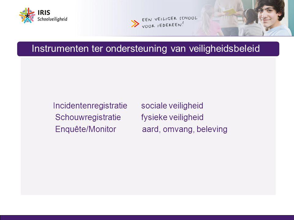 Instrumenten ter ondersteuning van veiligheidsbeleid Incidentenregistratie sociale veiligheid Schouwregistratiefysieke veiligheid Enquête/Monitor aard
