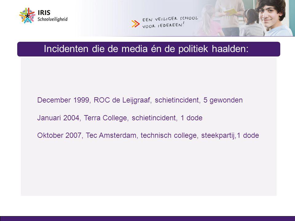 Incidenten die de media én de politiek haalden: December 1999, ROC de Leijgraaf, schietincident, 5 gewonden Januari 2004, Terra College, schietinciden