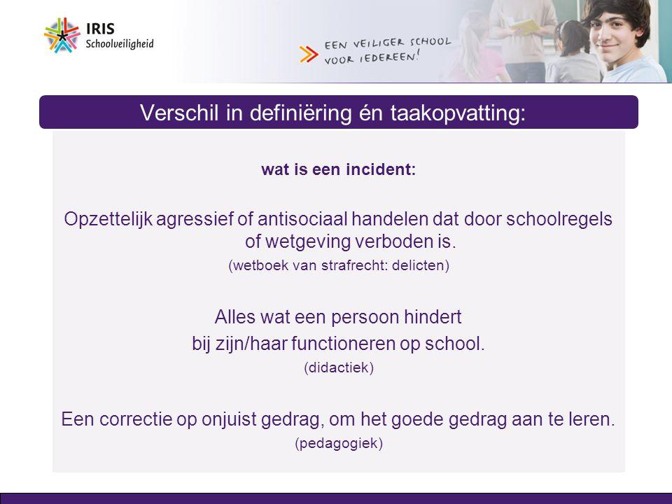 Verschil in definiëring én taakopvatting: wat is een incident: Opzettelijk agressief of antisociaal handelen dat door schoolregels of wetgeving verbod